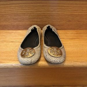 Tory Burch Gold Feather Flats